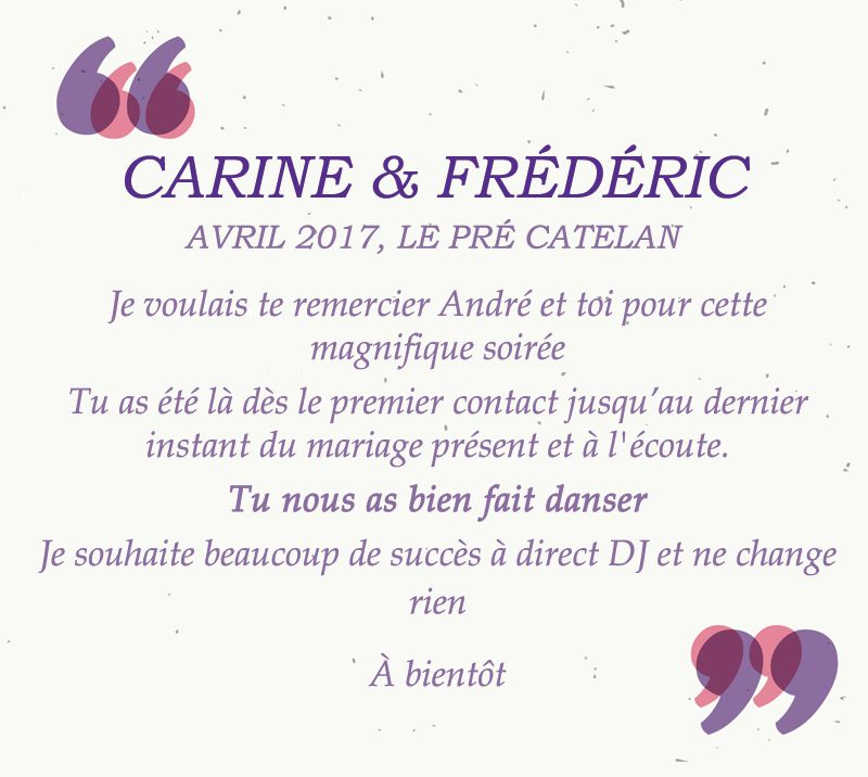 mariage carine et frederic
